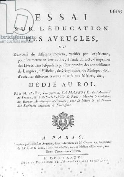 Title Page for 'Essai sur l'education des aveugles' by Valentin Hauy (1745-1822) published in 1786 (engraving) (b/w photo)