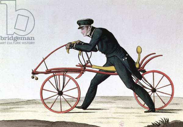 Draisienne, ancestor of the bicycle, invented 1816 by Baron Karl von Drais (1785-1851), 1820 (colour engraving)