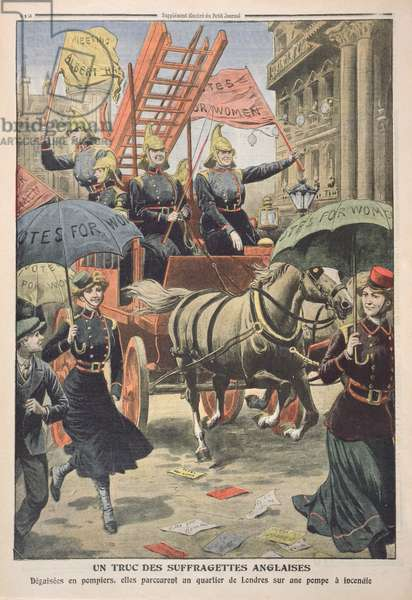 English suffragettes dressed as firemen, from 'Le Petit Journal', 3rd April 1910 (coloured engraving)