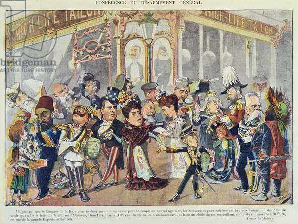 Advertisement for a Parisian clothes outfitters referring to the First Hague Peace Conference of 1899, from 'Le Rire' Magazine, 1899 (colour litho)