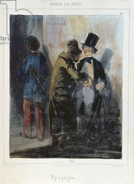 'Nothing There', caricature depicting a pickpocket robbing a student's pocket. c.1840 (colour litho)