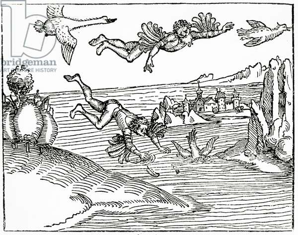 Daedalus, escaping from Crete with his son, Icarus, sees him falling to his death, 1493 (woodcut engraving)