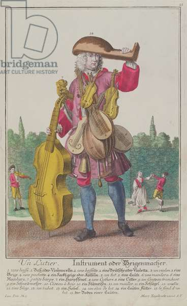 The Instrument Maker, c.1735, published in Augsburg (coloured engraving)