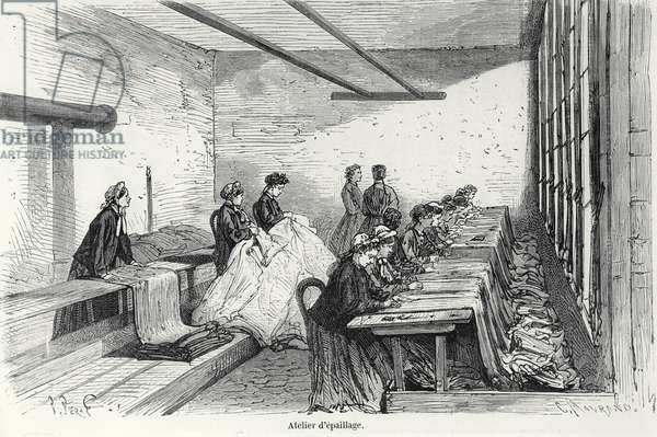 'Bouterel' Dyeing Workshop at Clichy, from 'Turgan', Paris, 1874 (engraving) (b/w photo)