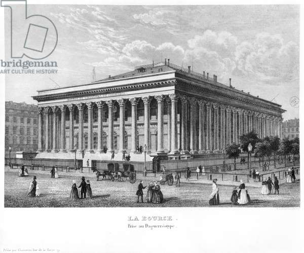 The Bourse and the Commercial Court, Paris, after a daguerreotype, c.1840 (engraving) (b/w photo)
