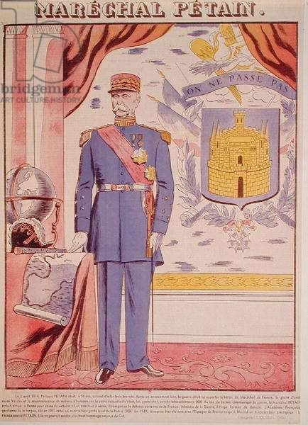 Marshal Petain (1856-1951), illustration from 'Le Journal', 1940 (colour litho)