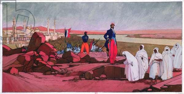 Louis Faidherbe (1818-1889) setting Medina (Mali) free, c.1910-20 (w/c)