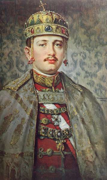 Coronation portrait of Charles IV as King of Hungary, 1917 (colour litho)