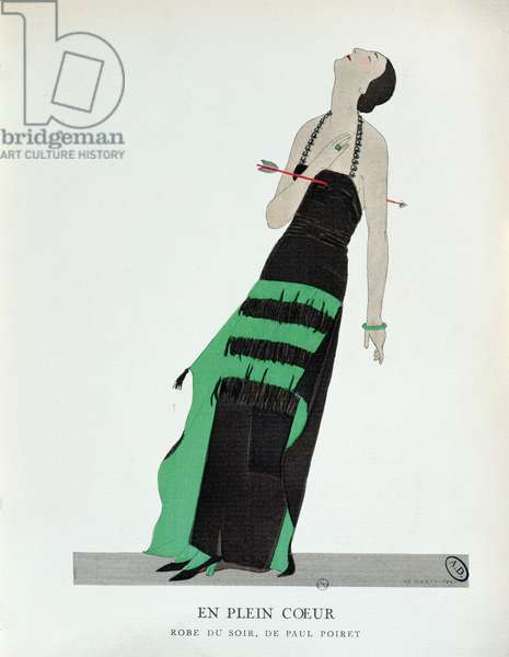 Straight through the Heart, plate 12 from 'La Gazette du Bon Ton' depicting an evening dress, 1922 (colour litho)