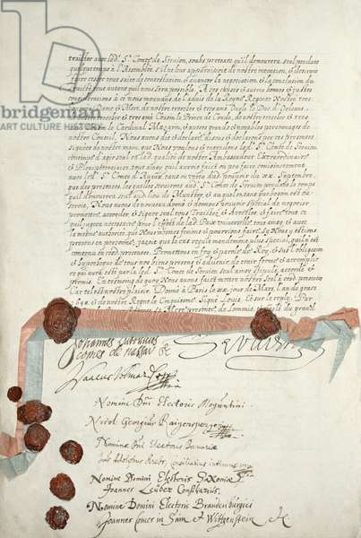 Treaty of Westphalia, signed at Munster, 24th October 1648 (pen & ink on paper) (see 211403)