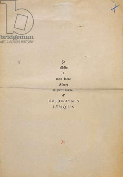 Proofing copy of the dedication of 'Et Moi Aussi Je Suis Peintre', 1914 (ink on paper)