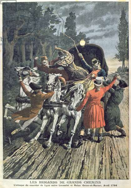 The Attack on the Lyon Mail Coach between Lieusaint and Melun by Highwaymen, April 1796, from 'Le Petit Journal', 1907 (colour litho)