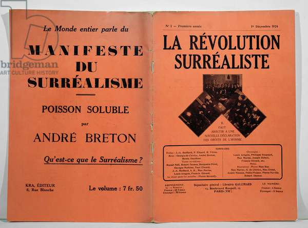 Cover of the first issue of 'La Revolution Surrealiste' magazine, 1st December 1924 (litho)