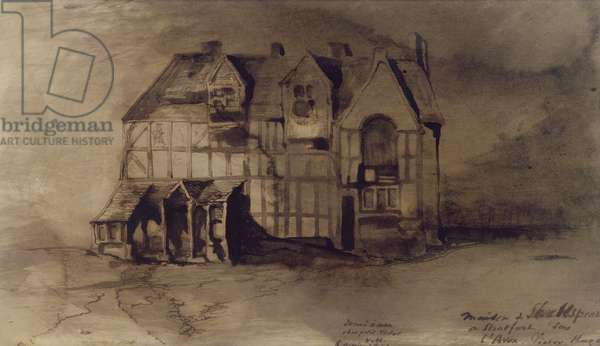 The House of William Shakespeare (1564-1616) in Stratford-upon-Avon (pen & ink and wash on paper)