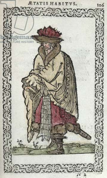 The Muscovite, illustration from 'Omnium fere gentium nostraeque aetatis Nationum Habitus et Effigies' by J. Sluperji, published in Antwerp in 1572 (coloured woodcut)