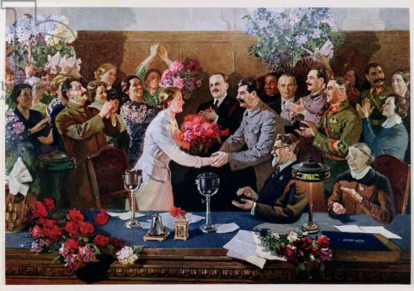 The Unforgettable Meeting, reproduction in 'Soviet Painting', 1939 (colour litho)