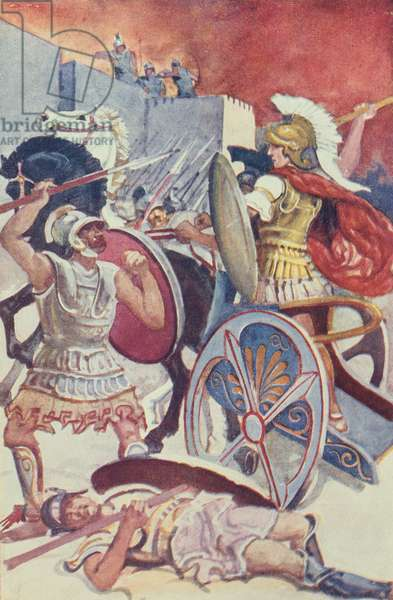 Achilles in his Chariot before the Walls of Troy, illustration from 'The Anger of Achilles' by Mozes Gaal, published in Budapest 1927 (colour litho)
