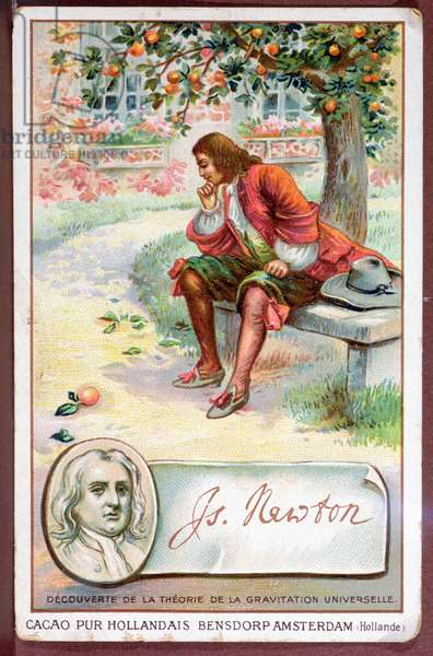 Promotional card for 'Beensdorp' chocolate with an illustration of Sir Isaac Newton (1642-1727) making his discovery of the Universal Law of Gravitation, early 20th century (colour litho)