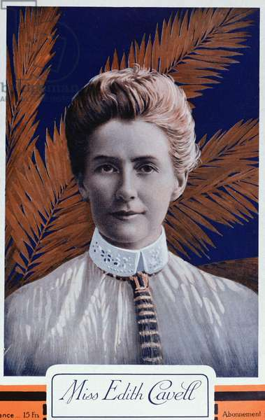 Edith Cavell (1865-1915) from 'Le Petit Journal', 1915 (colour litho)