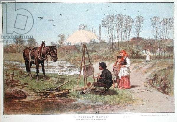 'A Patient Model', 1885 (colour litho)
