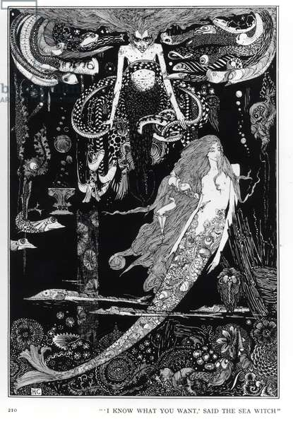 'I know what you want' said the sea witch, illustration for 'The Little Mermaid' from Fairy Tales by Hans Christian Andersen (1805-75), c.1910 (engraving) (b/w photo)