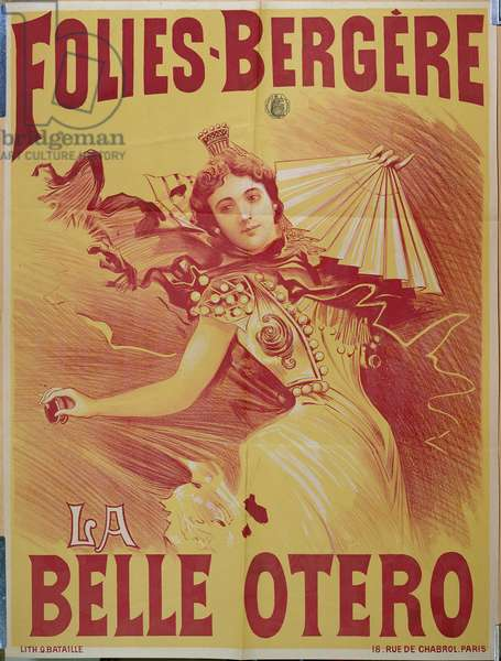 Poster advertising 'la Belle Otero' at the Folies-Bergere, 1894 (colour litho)