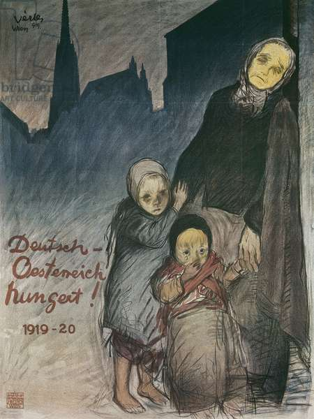 Germany and Austria are hungry, 1919-20 (colour litho)