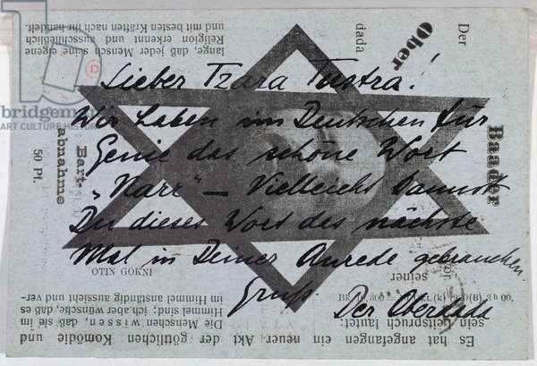 Postcard printed with the Star of David sent to Tristan Tzara by 'Der Oberdada' (Johannes Baader) c.1918-20 (litho)