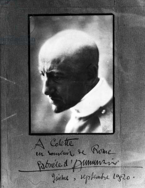 Portrait of Gabriele D'Annunzio dedicated to Colette, 1920 (b/w photo and ink on paper)