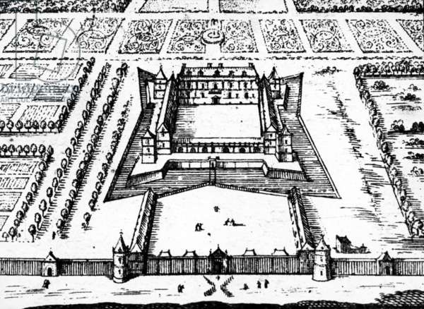 View of the royal hunting lodge at Versailles as it was in the late 1620's and 1630's, built for King Louis XIII, 1652 (engraving)