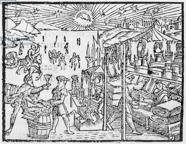 Trade in Scandinavia, illustration from 'Historia de Gentibus Septentrionalibus' by Olaus Magnus (1490-1558), published in Rome, 1555 (woodcut) (b/w photo)