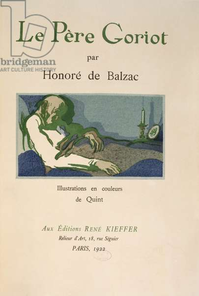 Title page from 'Le Pere Goriot' by Honore de Balzac, published in 1922 (colour litho)