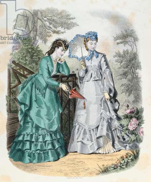 Elegant women in a garden, from 'La Mode Illustrée', 1871 (coloured engraving)