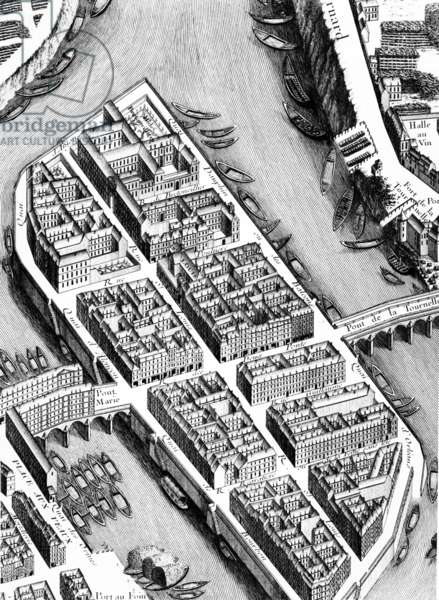 The Ile St. Louis, detail from the Plan of Paris, known as the 'Plan de Turgot', engraved by Claude Lucas, 1734-39 (engraving) (detail of 233535)