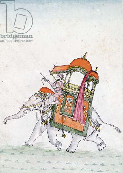 Portrait of a man riding an elephant, early 19th century (w/c on paper)