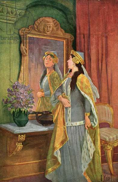 """""""Mirror, mirror on the wall, Who's the fairest of them all? """", illustration from the Grimm fairy tale 'Snow White and the Seven Dwarves', c.1900 (colour litho)"""
