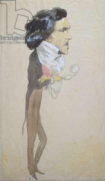 Caricature of Eugene Delacroix (1798-1863) (w/c, pencil & gouache on paper)