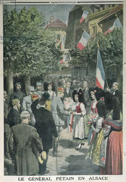 General Philippe Petain (1856-1951) liberating Alsace, illustration from Le Petit Journal, 7th October 1917 (colour litho)