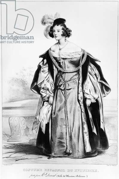 Marie Dorval in the role of Marion Delorme by Victor Hugo (litho)