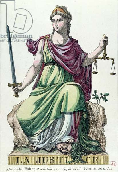 Allegory of Justice, published by Baffet, 1792 (colour litho)