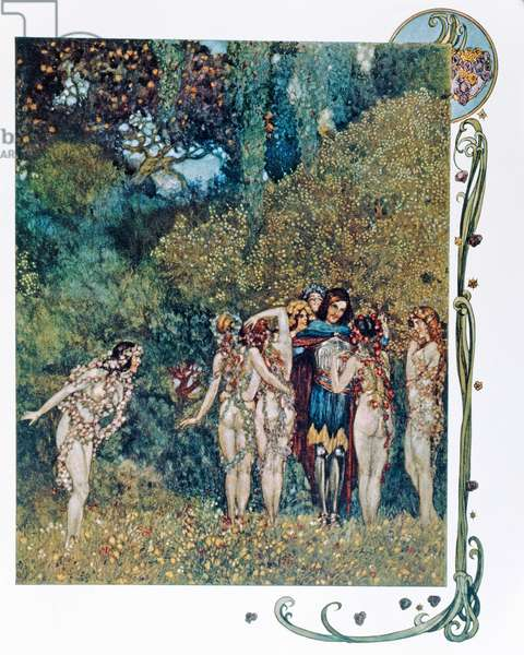 Parsifal and the Flower-Maidens, illustration for 'Parsifal' by Richard Wagner (1813-83) (colour litho)