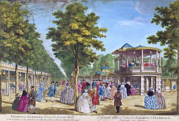 View of the Grand Walk at the entrance of Vauxhall Pleasure Gardens with the orchestra playing, engraved by Muller (coloured engraving)