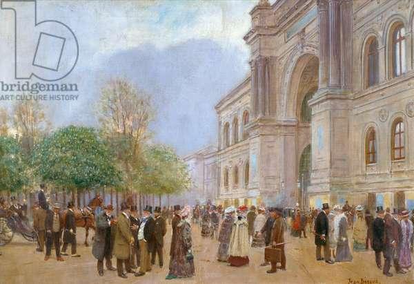Outside the Palais de l'Industrie (oil on canvas)