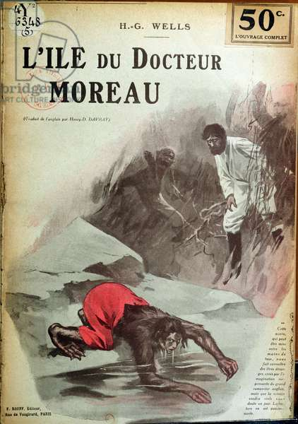 Front cover of a French translation of 'The Island of Doctor Moreau' by H. G. Wells (1846-1966) c.1910 (litho)