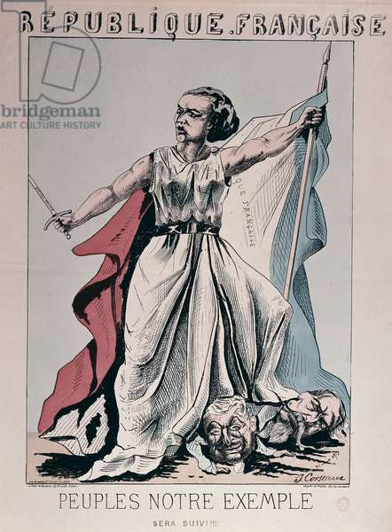 Personification of the French Republic as Louise Michel (1830-1905) trampling on the heads of Louis Adolphe Thiers (1797-1877) and Napoleon III (1808-73) (colour engraving)
