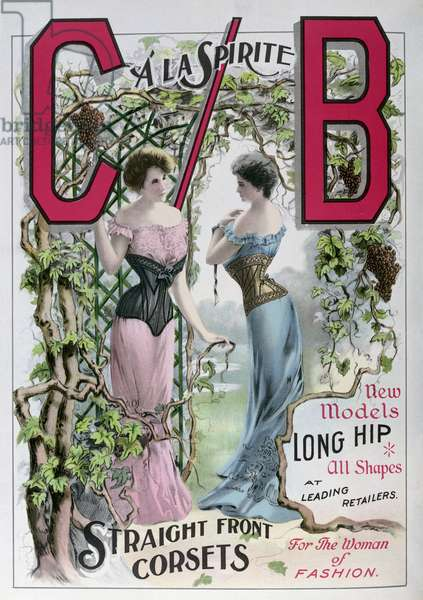 Advertisement for 'C/B' straight front corsets, from 'Theatre Magazine', 1903 (colour litho)
