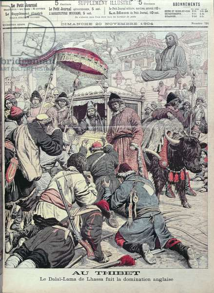 The 13th Dalai Lama (d.1933) fleeing the British invasion of Tibet, front cover of 'Le Petit Journal', 20th November 1904 (colour litho)