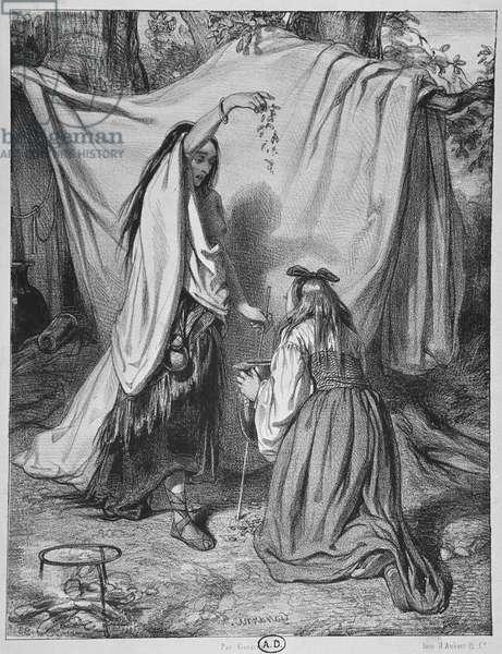 Witch Preparing a Love Philtre, c. 1840 (litho) (b/w photo)