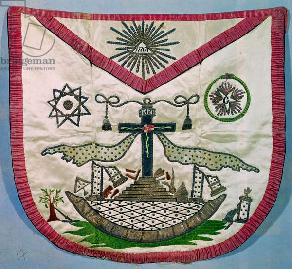 Freemason's apron with masonic and rosicrucian symbols (embroidered silk)