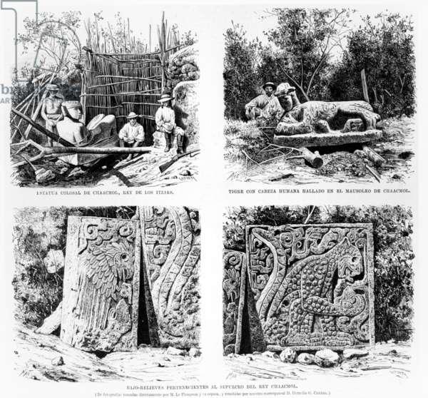 Artefacts discovered at Chichen Itza by Augustus Le Plongeon, illustration from 'La Illustracion Espanola y Americana' 1877 (engraving)